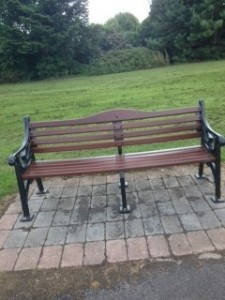 Photo of new park bench Redesdale Road entrance