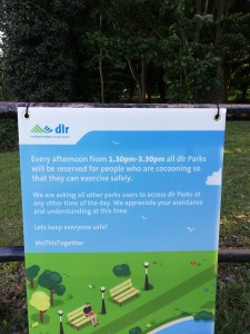 Deerpark Sign: All Dlr Parks reserved Cocooners 1.30pm to 3.30pm