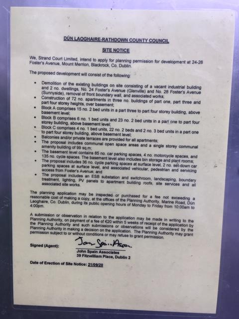 Planning Notice 24-28 Fosters Avenue