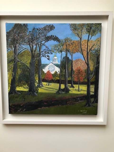 """""""St Therese Church from Deerpark"""" Oil on canvas by Terence Sweeny"""