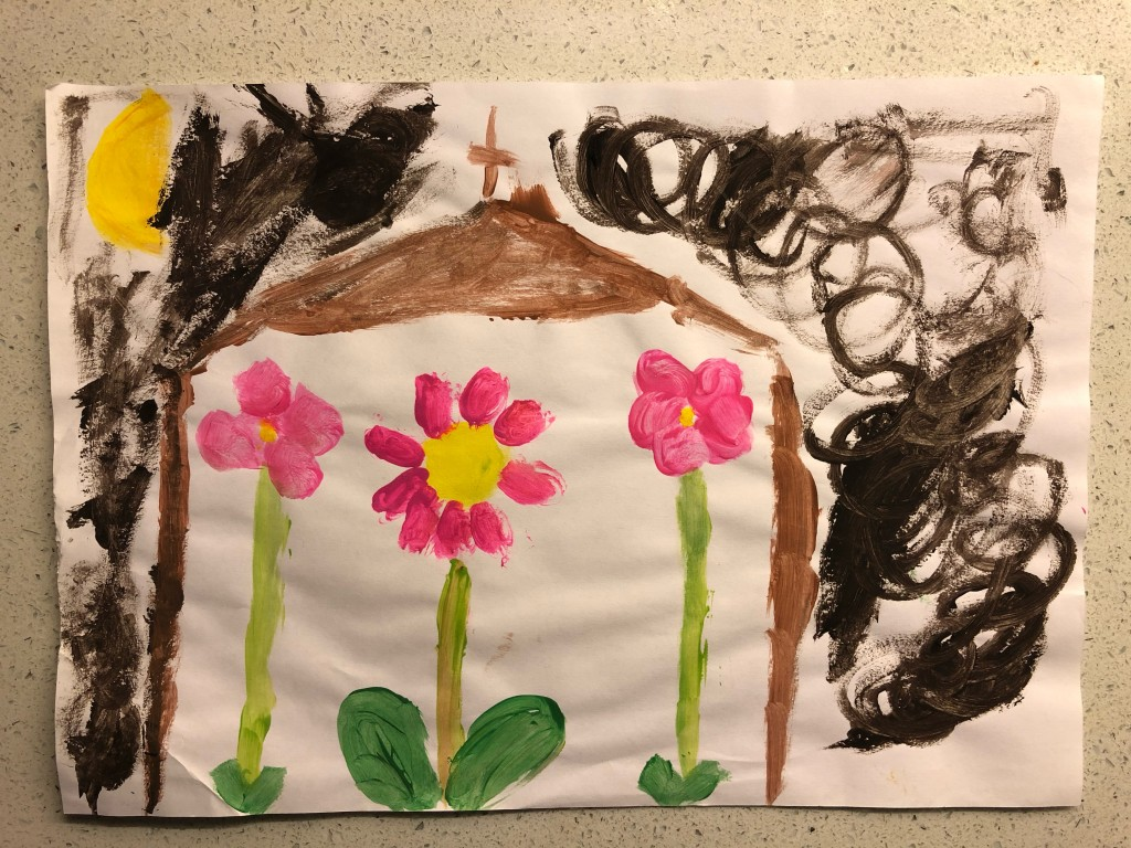"""Church St Therese Rose Flower Window"" by Kristine Maguire (age 7)"