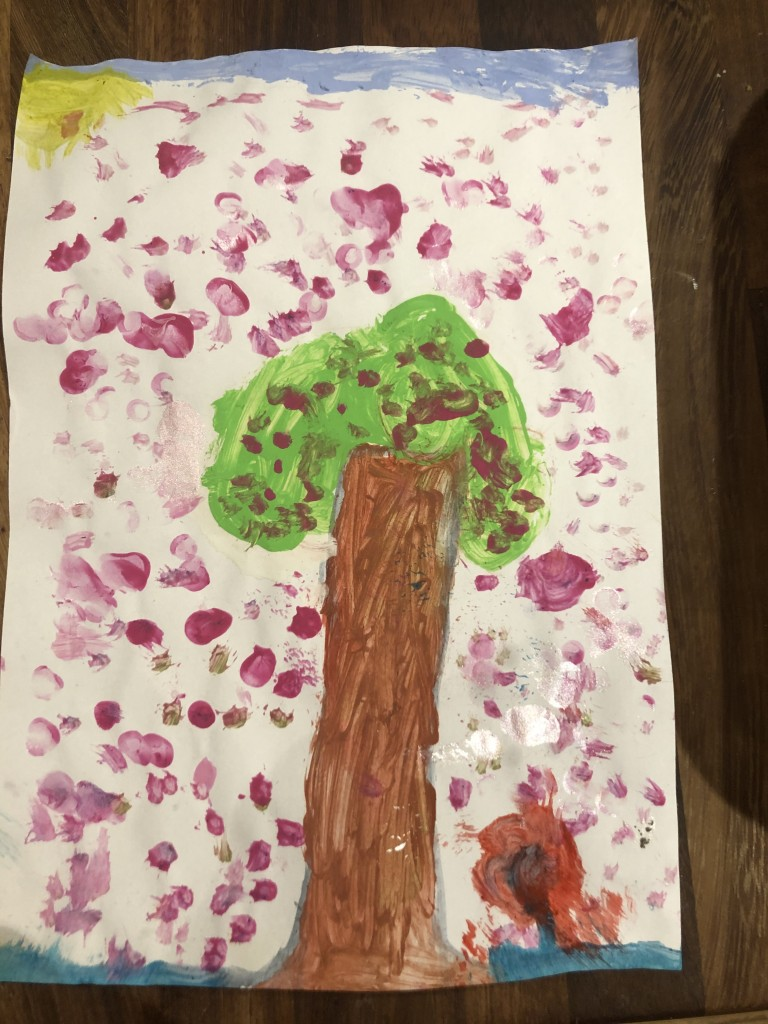 """Cherry Blossom Tree with a Poppy"" by Lucie Daly (age 5)"