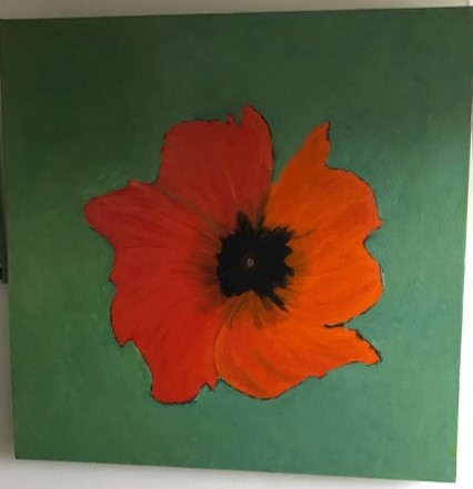 """""""Orange Poppy"""" on green background"""" by Terence Sweeny"""