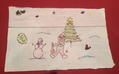 'Boy & Snowman chat in Deerpark' by Cillian Hayes (age 15)