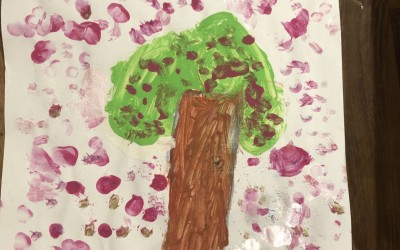 'Cherry Blossom Tree with a Poppy' by Lucie Daly (age 5)