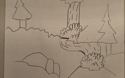 'Waterfall in the Woods' by Matthew Jolley (age 6)