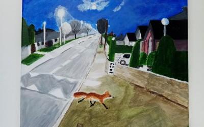 'Fox under moonlight on Deerpark Road' by Eileen Quinn (65+)