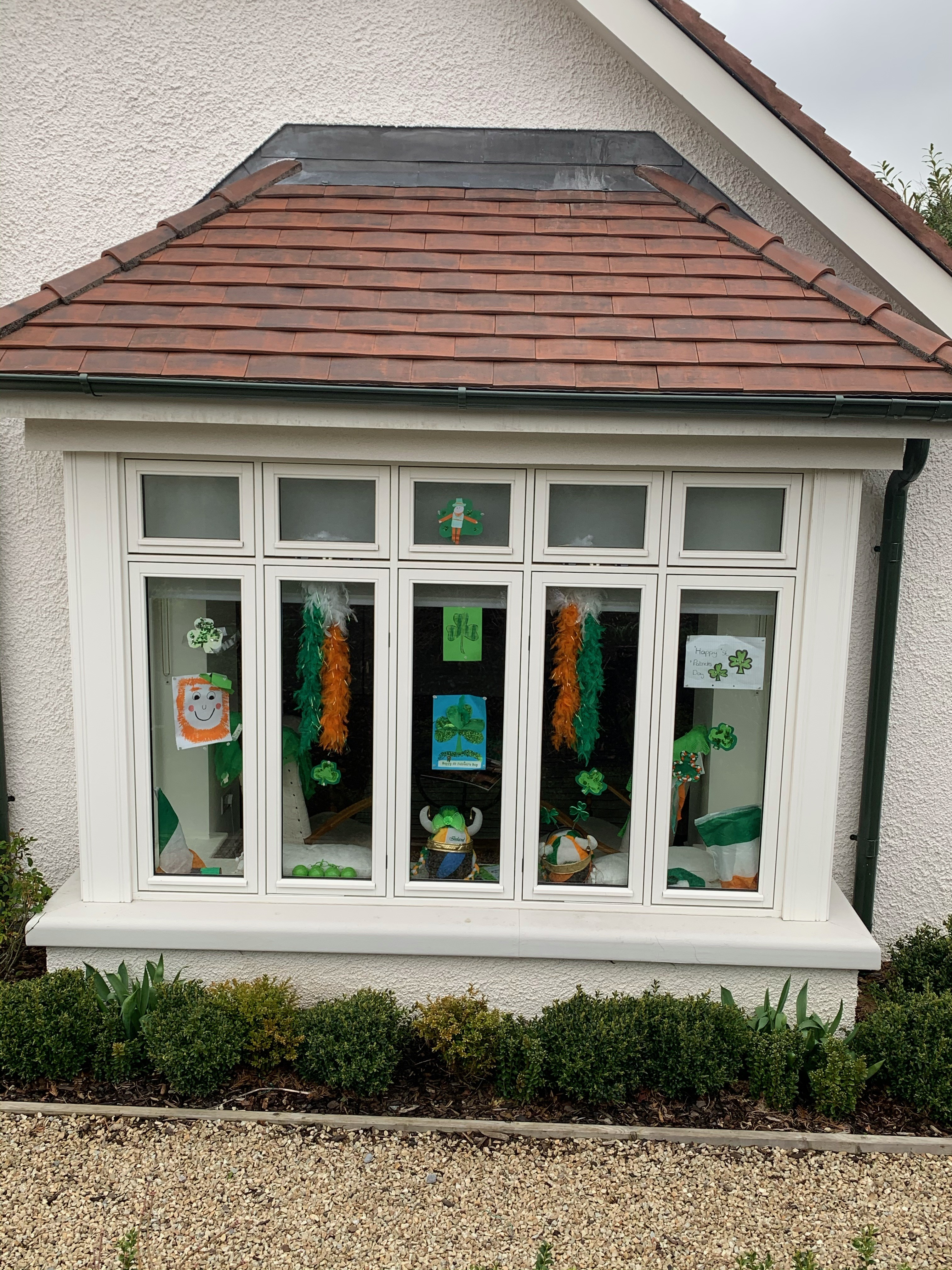 Here is the photo of our St Patrick's Day window to bring people cheer as they walk by our house.