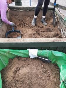 April 2021 - Planter Prep Work - Digging out old soil...
