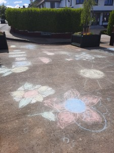 Chalk artwork at Sycamore Road/ Trees Road Lower Planters - Here comes Summer!